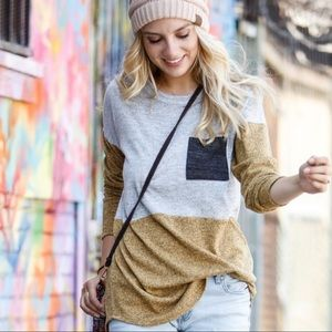 RESTOCK✨Long Sleeve Colorblock Tunic-mustard/gray